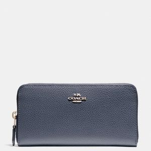 Coach Leather Accordion Zip Wallet Midnight NWT
